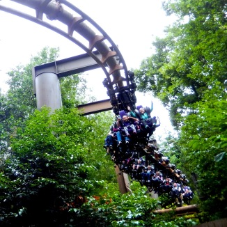 The Vekoma train swinging in the middle of the forest.