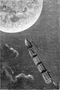 Train de projectile de la terre a la lune