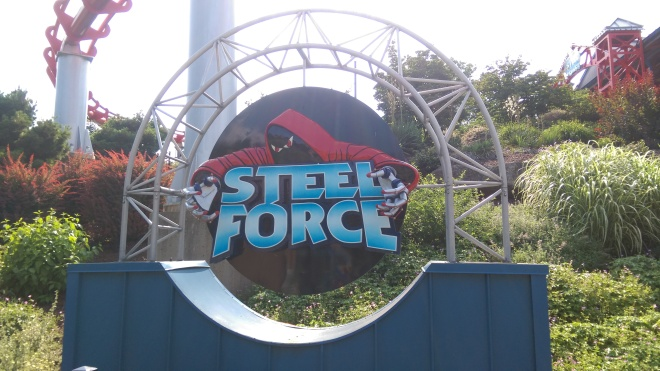Steel Force Dorney Park Entrance sign