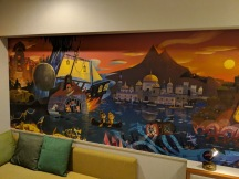 Mural inside the standard room of the Disney Celebration Discover Hotel.