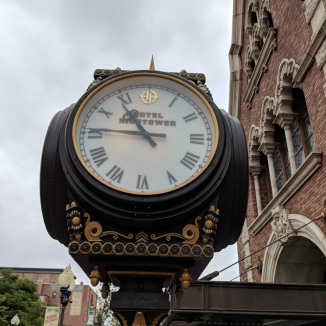 Beautiful clock in front of Hotel Hightower