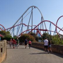 Dragon Khan (in red) at Port Aventura.
