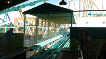 Due to extended loading times when VR was in use, this roof was constructed over the transfer track to prevent shade for incoming riders.