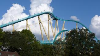 The top of the lift hill as well as the top of the Cobra Roll. This photo appears courtesy of Flex.
