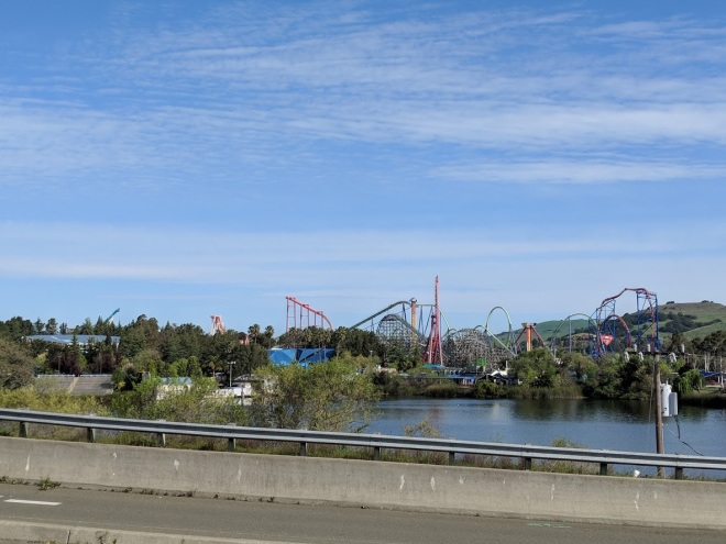 View of Six Flags Discovery Kingdom from the new parking lot