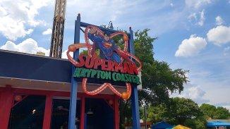 Superman Krypton Coaster entrance sign, courtesy of Flex.