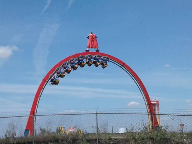 Superman Krypton Coaster Six Flags Fiesta Texas Loop from top of Quarry