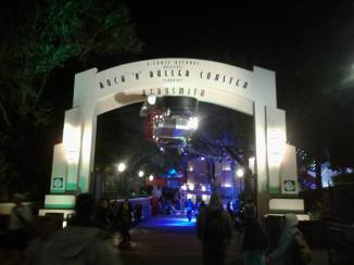 Entrance portal at night.