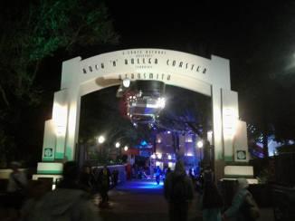Entrance portal at night.