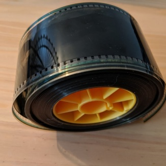 Small roll of IMAX 70mm film. This only represents a few seconds of the movie.