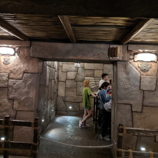 Loading Area where guests are separated into rows.