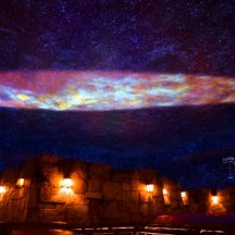 Coaster Kings provided us with this great photo of the night sky projection on the ceiling of the main room of the standby queue.