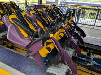 The special ride vehicle used on the Vekoma Flying Coaster.