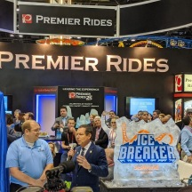 Jim Seay, president of Premier Rides, talking during the press conference.