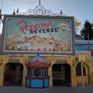 Entrance of Popcorn Revenge at Walibi Belgium.