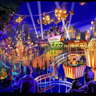 An overview of the Popcorn theme park.