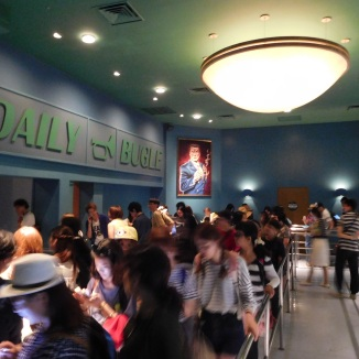 The waiting line snake through the Daily Bugle at both parks.