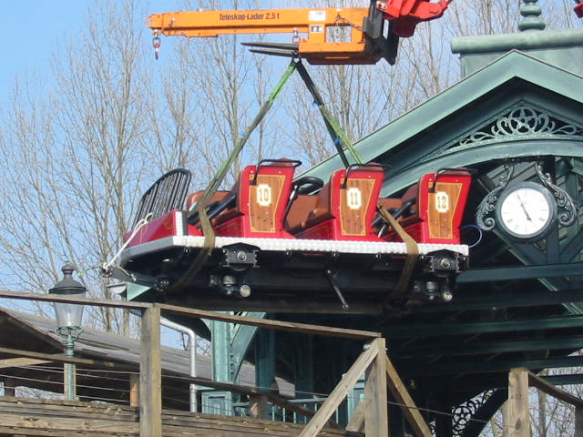 You can see the various wheels on this Vekoma wooden coaster car
